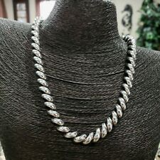 """Sterling Silver 925 Italy San Marco Macaroni Link 18 1/4"""" Necklace"""