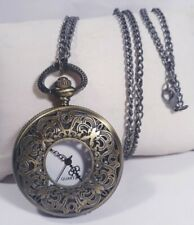 Antique Pocket Necklace Watch Half Hunter w/ Chain Bronze Case White Face New