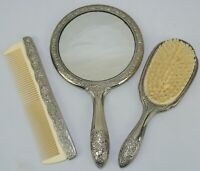 Vintage Vanity Set ~ Silver Hair Brush, Mirror And Comb