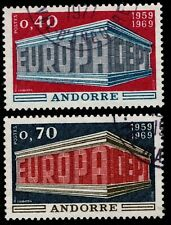 1969 French Andorra Sc #188-189 EUROPA set CDS Used; SCV $12.00