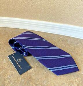 Hart Schaffner Marx Silk Blend Tie Necktie Purple Striped Made in Italy NWT $89