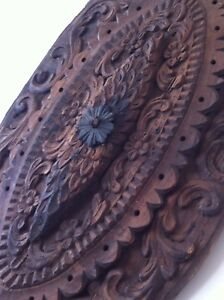 1800's ANTIQUE WOOD CARVED CEILING MEDALLION ROSETTE ARCHITECTURAL ORNAMENT RARE