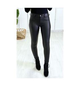Pantalon Slim Simili Cuir Effet Stretch Doux Intérieur Vêtement Noir Mode Femmes