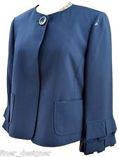 Ellen Tracey Navy Blue suit jacket Blazer 3/4 pleated ruffle slv Silk 8 NWT $498