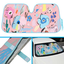 Car Windshield Sun Shade Heat UV Ray Protection - Flowers Abstract Art Drawing