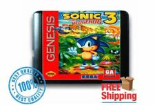 Sonic Genesis Hedgehog 3 for 16 bit Sega MD Mega Drive Game Console