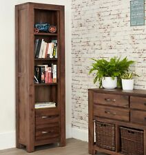 Mayan Walnut Narrow Bookcase With 2 Drawers by Baumhaus