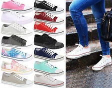 Ladies Plimsolls Trainer Canvas Women Skater Pumps Girls Flat Lace Up Shoes Size