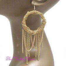 Large Gold Plt Multi Chains Chic Hoop Tassels Statement Chandelier Drop Earrings