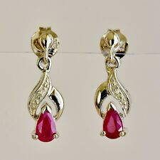 NATURAL RUBY DIAMOND EARRINGS PETITE 9K 375 WHITE GOLD DROPS GIFT BOXED NEW