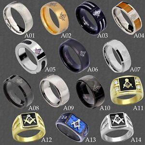 Masonic Freemason Mens Jewelry Wedding Band in Stainless Steel Titanium Tungsten