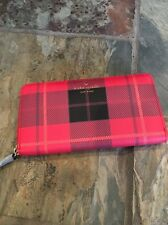 """Rare! Kate Spade New York """"Fairmount Square"""" Cherry Red Plaid Lacey Wallet, NWT"""