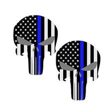 Punisher Police Blue Lives Matter American Flag  Car or Truck Sticker