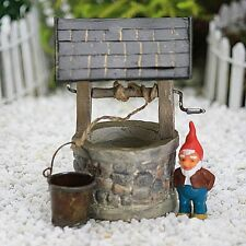 Wishing Well with Tin Roof ~  Rope and Tiny Bucket ~ Magical Fairy Garden