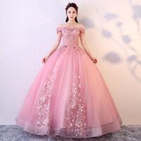 Womens Wedding Sweet Quinceanera Dress Blush Pink Off Shoulder Lace Bubble Dress