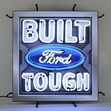 Neon sign Built Ford Tough oval metal grid Truck F-150 F-250 f-350 shop lamp Olp