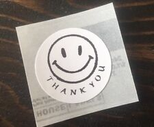 "100 THANK YOU HAPPY FACE ! STICKERS ENVELOPE/PACKAGE SEALS LABELS 1"" ROUND"
