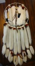 NATIVE AMERICAN STYLE DREAM CATCHER MANDALA SHEEP'S WOOL, FEATHERS, FUR, BEADS