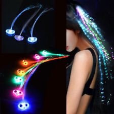 LED Light Up Hair Extensions Fiber Optic Luminous Hair Clip Party Decorative New