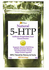 100% Pure 5HTP POWDER 60 Grams Mood Enhancer Griffonia Extract Anti Depressant