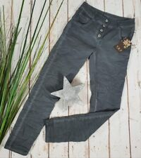 NEU Y&Y ITALY LEICHTE JEANS HOSE👖STRECH PANTS 4 BUTTONS WASHED GREY S 34 36