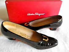 Salvatore Ferragamo Patent Black Gancini Shoes