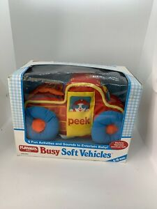VINTAGE 1988 PLAYSKOOL BUSY SOFT VEHICLE YELLOW CAR BABY TODDLER ACTIVITY TOY