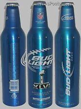 NFL 2012 SUPERBOWL FOOTBALL SPORT BUD LIGHT BUDWEISER ALUMINUM BEER BOTTLE-CAN