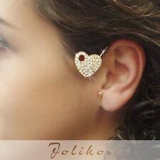 JoliKo Ohrklemme Ohrschmuck Ear Cuff Rubin Kristall Herz Love Ruby Drop LINKS