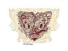 SUGAR SKULLS Amor MUERTOS HEARTS Latin VINYL Sticker SPANISH Decal Jeral Tidwell
