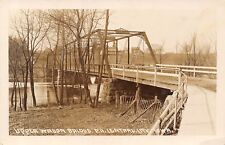 Central City IA Upper Wagon Bridge~Unpaved Except Sidewalk~Wapsi River RPPC 1915