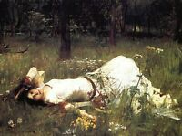 Ophelia by John William Waterhouse Fine Art Print on CANVAS Wall Decor Small