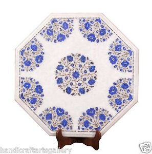 """18"""" White Marble Coffee Top Table Lapis Floral Inlay Marquetry Arts Decoratives"""