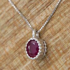 18k 18ct 18kt White GOLD Natural RUBY Solitaire Italian Pendant Necklace Chain