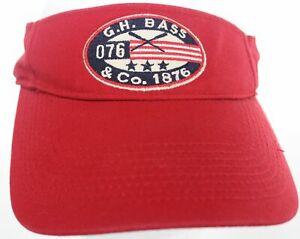 G.H. Bass & Co. 1876 Row Crew Visor Red White Blue Hat Cotton 1Sz Strapback Cap