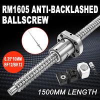 1500MM Ball Screw RM1605 End Machined & BK/BF12 + Ballscrew Nut Housing Set USA
