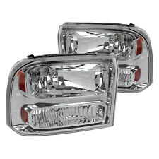 99-04 Ford F250 F350 Excursion Chrome Headlights 1pc Upgrade Super Duty Truck