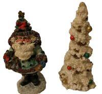 "Christmas Tree & Santa Claus White 5"" Figurines Christmas Decoration Holiday"