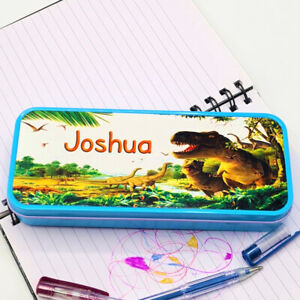 Personalised Pencil Tin Blue with Dinosaurs Design - Gift For Boys ADD ANY NAME
