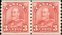 Canada Mint H 1931 PAIR 3c F+ Scott #183 King George V Arch Leaf Coil Stamps