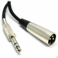 6.35mm Stereo Jack to XLR 3 Pin Male Plug Screened Balanced Cable  1m