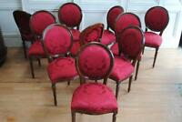 Set 10 French Louis XVI Style Medallion Back Dining Chairs Crimson Damask
