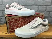 Vans Femme Old Skool Rose ToileDaim Baskets Blanche à