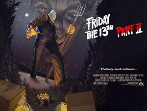 "FRIDAY THE 13th Part II 2 repro quad p oster 30x40"" custom horror FREE P&P rare"