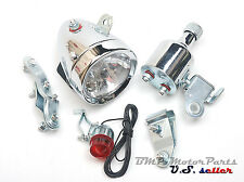 Bicycle Motorized Bike Friction generator Dynamo Headlight Tail Light 12V 6W