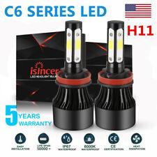 Pair H11 LED Headlight 6000K 200W 30000LM 4-Side Low Beam bulbs High Power HOT