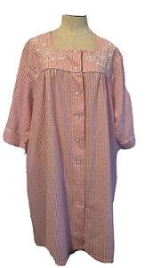 WOMAN'S KAY ANNA COTTON SEERSUCKER PINK Full Snap Up ROBe HOUSE DRESS Sz XL