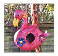 Metal pink Flamingo Birdhouse Garden Flamingo Bird House 3D Flowers Flamingo