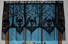 HERITAGE LACE BLACK HALLOWEEN GOTHIC SKULLS VALANCE W/FRINGE 22.5L BY 62W #4045