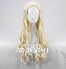 Alice In Wonderland White Queen wave curly Light Blonde long cosplay Wig+wig cap